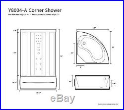 1001NOW Stunning 36 x 36 Corner Shower with Massage Jets and LED lighting