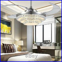 110V 42'' Crystal Acrylic Blade Ceiling Fan Light Lamp With Remote Control