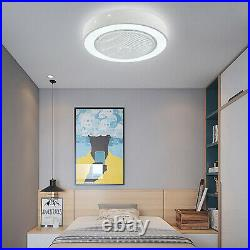 22in Modern Flush Mount Ceiling Fan withDimmable LED Light + Remote Control