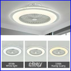 23''Modern White Ceiling Fan with LED Light kit & Remote Control Indoor Lighting