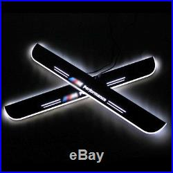 2pcs Car led light Door Sill protectors Scuff Plate Pedal For BMW 2010-2015 US
