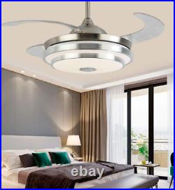 36/42 Bluetooth Ceiling Fans with LED Retractable Blades Music Player Chandelier