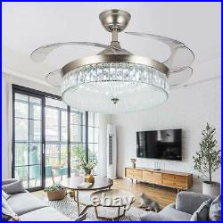 36/42 Invisible Ceiling Fan Light Crystal LED 3-Color Chandelier withRemote