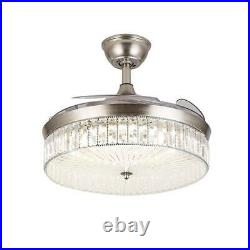 36/42 Invisible Ceiling Fan Light Crystal LED 3-Color Chandelier withRemote US