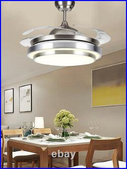 36/42 LED Invisible Ceiling Fan Light Retractable Blade Living Room Chandelier