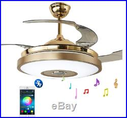 36 Bluetooth Invisible Ceiling Fan Lamp Music Player Chandelier with LED Light