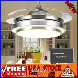 36 Ceiling Fan Light Chandelier with LED Retractable Blades + Remote