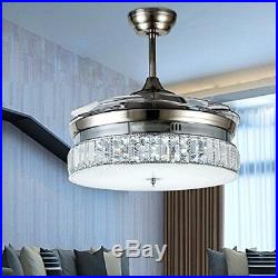 36 Silver Crystal Invisible Ceiling Fan Light Chandelier Dining Room Muted Fan