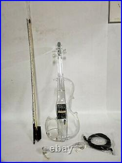 4/4 Electric Violin Transparent Crystal Acrylic Body With Led Light Violin Bow