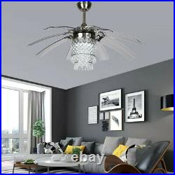 42 8-Blades Invisible Ceiling Fan LED Luxury Crystal Remote Chandelier Lighting