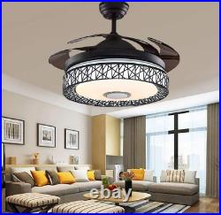 42 Bluetooth Invisible Ceiling Fan Lamp 7-Color LED Chandelier withSpeaker Remote