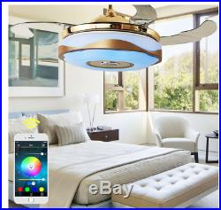 42 Bluetooth Music Player Ceiling Fan Light with Colorful LED Retractable Blades