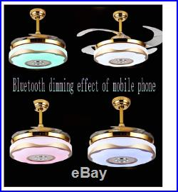 42 Bluetooth Music Player Invisible Ceiling Fan Light LED 7Color Chandelier