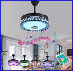 42 Bluetooth Retractable Ceiling Fan Light Music Player LED Chandelier withremote