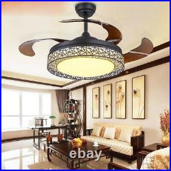 42 Ceiling Fan Light Retractable 4 Blade LED Chandelier Dimmable WithRemote USA