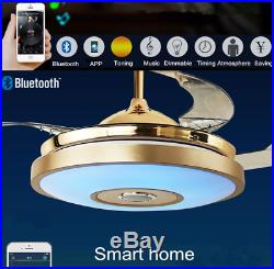 42 Ceiling Fan Light with Bluetooth Speaker Remote LED 7-color Dimming Chandelier