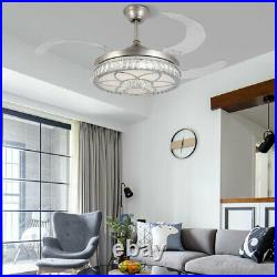 42 Ceiling Fan Lights LED Dimmable Remote Control Retractable Blades Fandelier