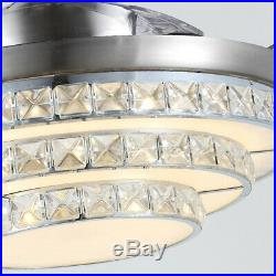 42'' Crystal Acrylic Blade Ceiling Fan Light Lamp With Remote Control 110V