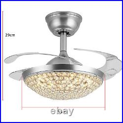 42 Crystal Ceiling Fan Light Retractable Blades Remote Control 3Speeds 3Colors