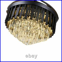 42 Crystal Invisible Ceiling Fan Light Black Chandelier with LED Remote Control