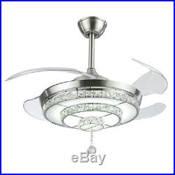 42 Crystal Invisible Ceiling Fan Light Remote Control Home Chandelier Fixture