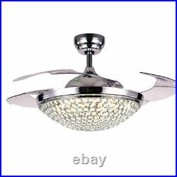 42'' Crystal Invisible Fan Ceiling Lamp LED Light Chandelier with Remote Control