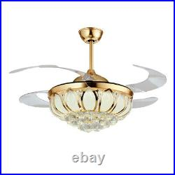 42 Crystal Invisible LED Ceiling Fan Light Remote Chandelier Pendant Lamp Gold