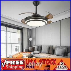 42 Dimmable Ceiling Fan Light Chandelier with LED Retractable Blades + Remote BLK