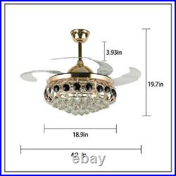 42 Gold Crystal Ceiling Fan Chandelier with Led Light Remote Retractable Blades