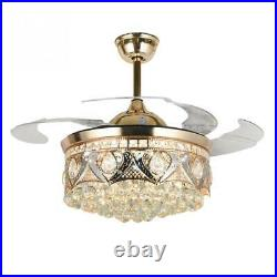 42-Inch Crystal Ceiling Fan Light With Remote Control Invisible Retractable Gold