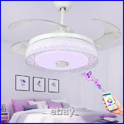 42'' Invisible Bluetooth Ceiling Fans Music Player Chandelier with 7-Color LED Kit