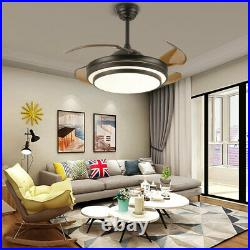 42 Invisible Ceiling Fan Light LED Chandelier Remote Control Dimmable Lamp 110V