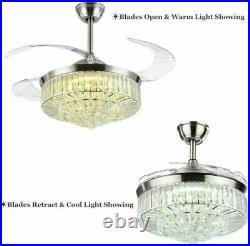 42 Invisible Ceiling Fan Light Luxuary Crystal Chandelier with 3-color LED Remote