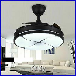 42 Invisible Ceiling Fan with Light, Dimmable LED Chandelier, 4Blade, Remote Control