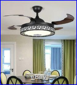 42 Invisible LED Ceiling Fan Light Bluetooth Music Player Chandelier with Remote