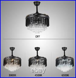 42 Invisible LED Ceiling Fan Light Lamp Luxury Crystal Chandelier with Remote