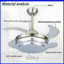 42 Invisible Retractable Ceiling Fan Light LED Dimmable Chandelier +Remote Top