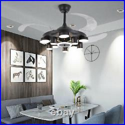 42 LED Modern Chandelier Dimmable Invisible Ceiling Fan Light Remote Control