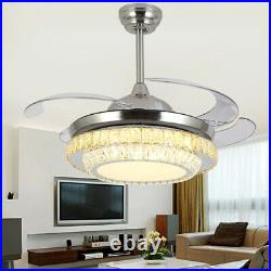 42 LED Remote Blade Silver Invisible Ceiling Fan Light Crystal Chandelier USA