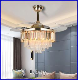 42 Luxury Crystal Invisible Ceiling Fan Lamp Remote Control LED Chandelier Gold