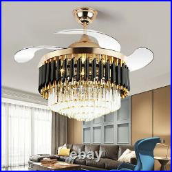42 Luxury Gold Crystal Invisible Ceiling Fan Lamp Remote Control LED Chandelier