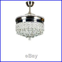 42 Luxury Remote Retractable Ceiling Fan Light Crystal LED Dimming Chandeliers