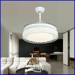 42 Modern Ceiling Fan with LED Light Crystal Chandelier Retractable Blade+Remote