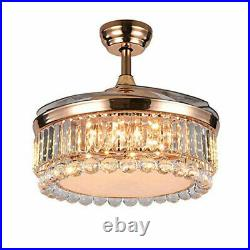 42 Modern Crystal Ceiling Fan Light Invisible LED Chandelier Dimmable With Remote