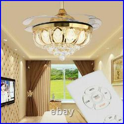 42 Modern Invisible Ceiling Fan Light LED Crystal Chandelier Light With Remote US