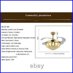 42 New Crystal LED Chandelier Remote Control Gold Invisible Ceiling Fan Lamp