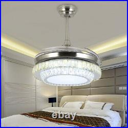 42 Remote Invisible Blade Silver Ceiling Fan Light Crystal LED Chandelier USA