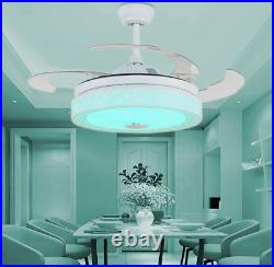 42 Retractable Bluetooth Ceiling Fan Light Music Player LED Chandelier+remote