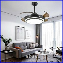 42 Retractable Ceiling Fan Lamp Dimmable LED Chandelier Light Remote Control US