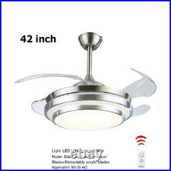 42 Retractable Ceiling Fan Lamp Dimmable LED Chandelier with Light Remote Control
